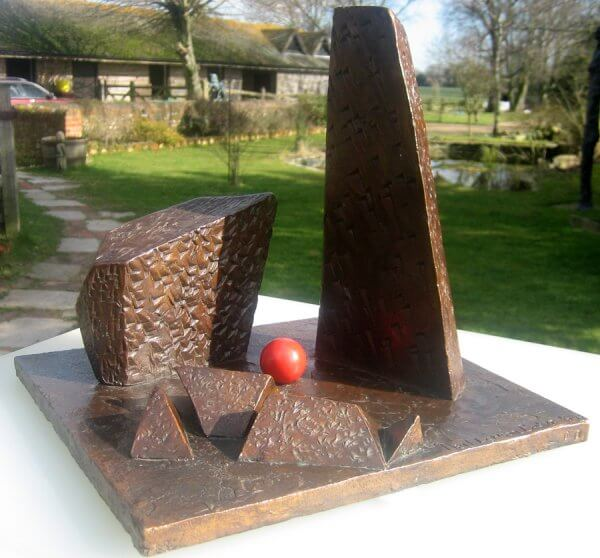 The Lonely Planet - abstract bronze sculpture in the ballhead series