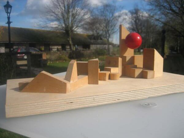 Ballhead-Red-Reclining-Nude-Design Model in Wood