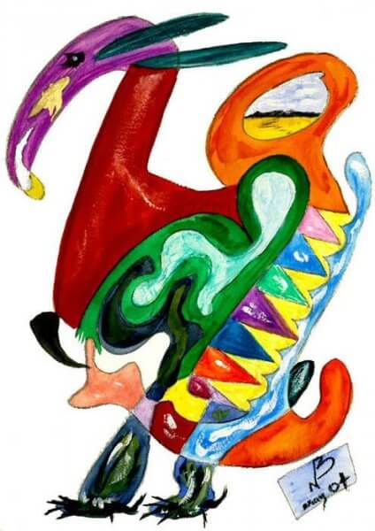 Very brightly coloured stylised caricature of a dodo standing and looking to the left