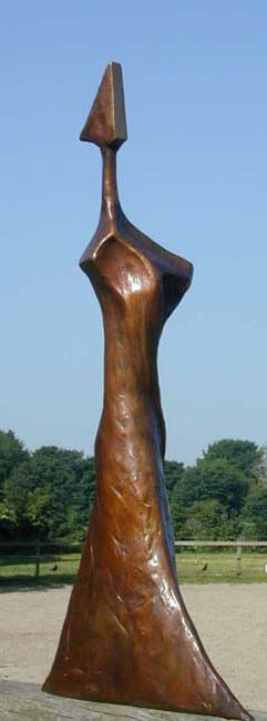 Dark patinated bronze sculpture called I Wish on White Marble base