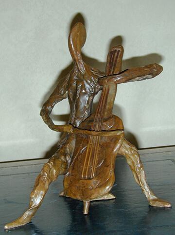 Tortelier - bronze sculpture of cellist