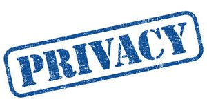 Image of a rubber stamped imprint. It has the single word 'privacy' in upper case letters as if stencilled inside a thinnish rectangular outline with rounded corners. It is printed a a darkish blue ink and rises up at about 30 degrees to the horizontal so that the 'P' of Privacy is lower than the 'Y'.